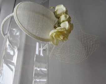 Yellow Flower Ivory Sinamay Fascinator Hat with Veil and Pearl Beaded Headband, for weddings, bridesmaids, parties, special occasions
