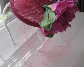 Fuchsia Pink Flower Sinamay Fascinator Hat with Veil and Pearl Beaded Headband, for bridesmaids, weddings, parties, special occasions