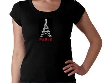 Paris France Eiffel Tower RHINESTONE t-shirt tank top sweatshirt - S M L XL 2XL French Bling
