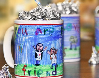 """Child's Drawing Personalized Coffee Mug, """"Little Artist"""" Series : Artwork Creates a Perfect Gift for Parents, Grandparents, and Teachers"""