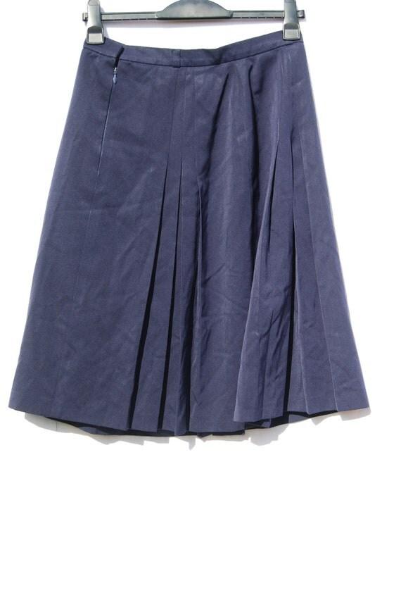 vintage navy blue pleated skirt midi skirt kilt