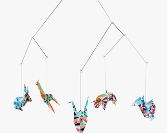 Baby mobile / Zoo Origami Mobile: Mosaic collection - crib decoration - Nursery decoration