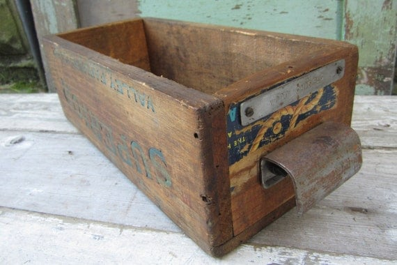 Antique Wooden Fruit Crate Repurposed into Drawer OOAK Vintage Wooden Tool Box Storage Old