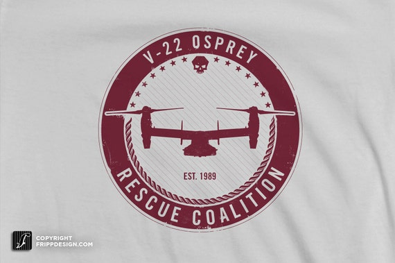 "SALE! - V22 Osprey Navy / Marine Corp. Airplane T Shirt ""Rescue Coalition"" - Organic Cotton"