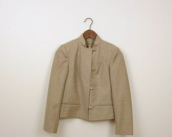 On Sale Vintage 1970s Fitted Wool Blazer in Natural Beige - Small by Omni