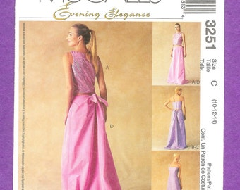 McCall's 3251 Young Fashion, Top and Skirt Ensemble for Evening Wear, Has a Gathered Back, With a Slight Train, Sizes 10, 12 , 14 UNCUT