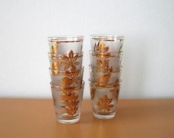 Mid Century Gold Leaf Design Shot Glasses, Aperitif Glasses Set of Six