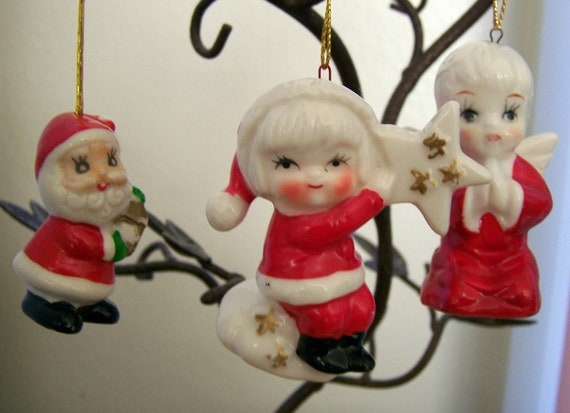"Vintage 50's '""PORCELAIN ORNAMENTS""  Angel, Young Santa Helper & Santa"