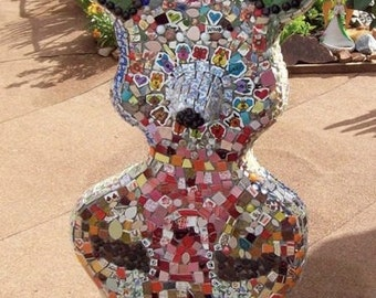 Mosaic Dog Fox Wolf Bunny Cement Sculpture