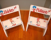 Dr. Seuss Step stool - Hand painted and Personalized