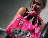Neon Pink Bow Punk Skull Studded Spiked Messenger Bag Purse tote