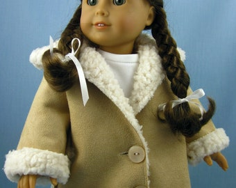 18 Inch Doll Clothes - will fit American Girl - Hooded Jacket in Tan Sherpa Suede - 18 Inch Doll Coat