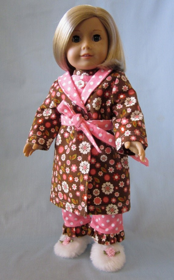 American Girl Doll Clothes  - Flannel Pajama and Robe Set in Salmon and Brown