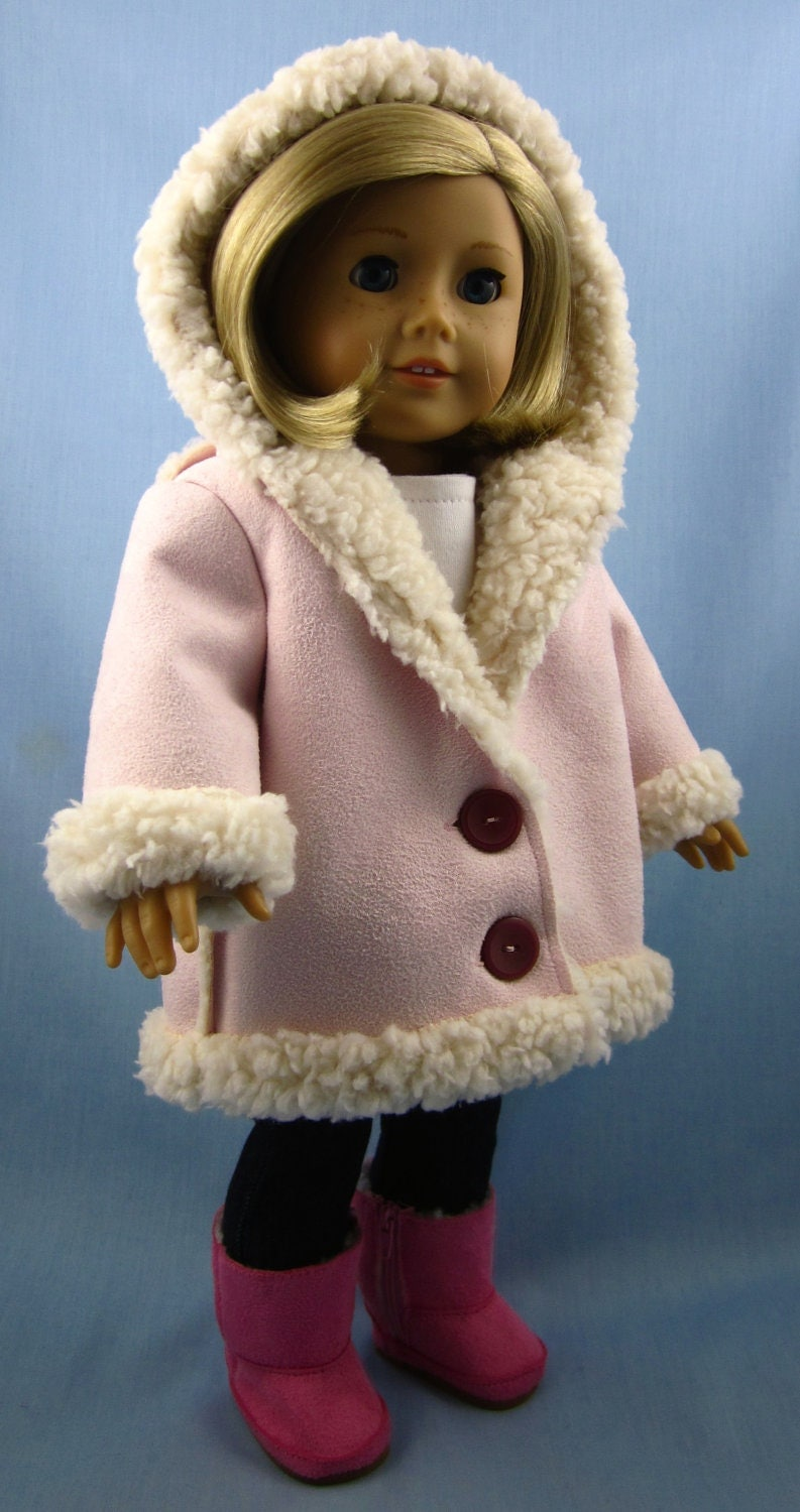 Doll Clothes Patterns By Valspierssews Review Of American: 18 Inch Doll Clothes Hooded Jacket In Pink Sherpa Suede
