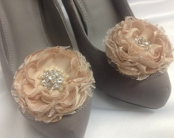 Champagne Wedding Flower Shoe Clips / Bridal Accessories / Hair Clips /  Set of 2.