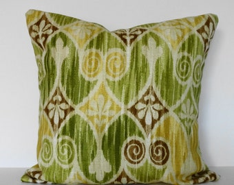 IKAT Colonial Williamsburg Collection, Decorative Pillow Cover, Sheraton Ikat, Green, Lime Green, Yellow, Brown, 16 x 16, Cushion Cover