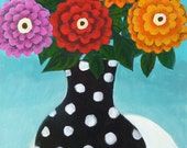 Black and White Polkadot Vase with Pink, Red and Oranges Flowers -  7x10 Fine Art Giclee Print