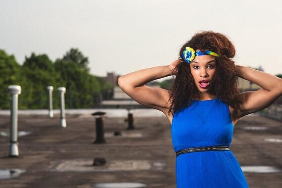 Neon Blue Tie Dye Rossette Headband