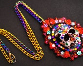FREE P&P Dia de los Muertos, Day of the dead decorative skull cameo pendant