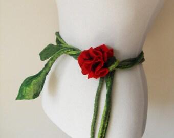 Belt Felt Red Poppy Flower statement belt