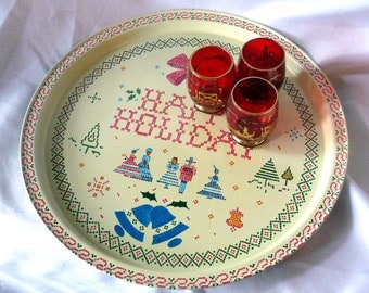 Vintage 1970's Tin Happy Holidays Serving Tray Cross Stitch Sampler Victorian Christmas