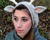 Baby Deer - Knit Slouchy Beret with Deer Details