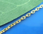 Gold Cable Chain - 32 Feet - 10M - 3x2mm - Ships IMMEDIATELY  from California - CH58