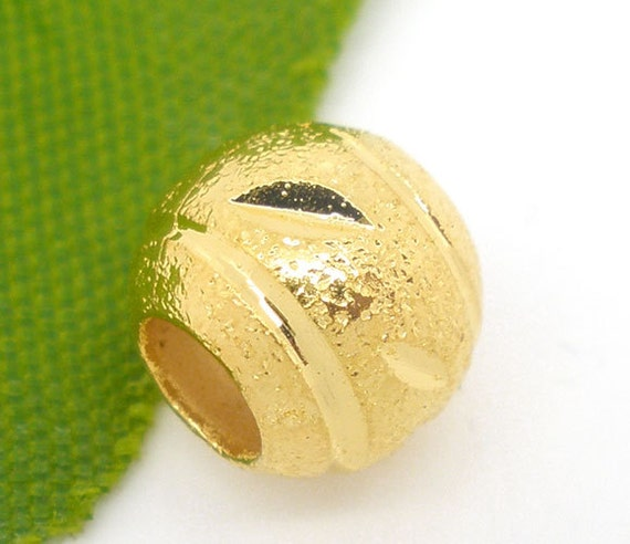 Gold Round Beads - Carved Stardust - Spacer - 8mm Dia. - 10pcs - Ships IMMEDIATELY from California  - B139