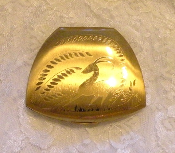 Vintage Elgin American  Powder Compact Gazelle Etched