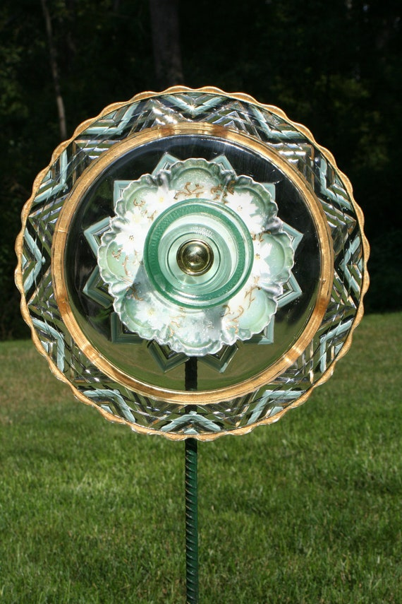 GARDEN stakes and YARD sun catcher with recycled glassware