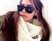 Off-White Infinity Scarf // Crochet Infinity Scarf // Chunky Infinity