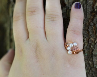 Wire Wrapped Ring - Copper - White Glass Pearl