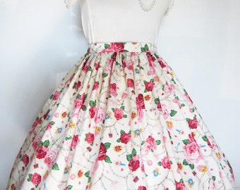 Classic Lolita, Sweet Lolita Creme Rose Jewelry Skirt