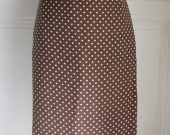 Vintage silk pencil skirt // Dotted skirt // BROWN color //TAILORED // SMALL