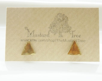 Hammered gold brass textured geometric triangle stud earrings