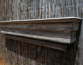 Modern wooden grey and white wall shelf