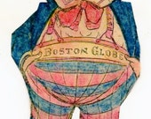Instant Digital Download-Boston Globe Cutout Boy doll
