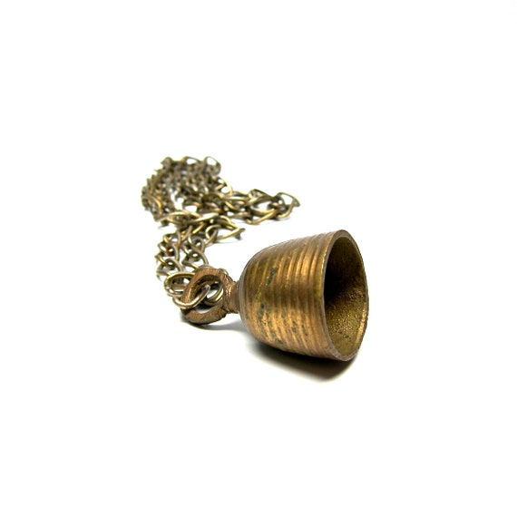 Vintage Bell Brass Necklace Long Chain Brass Small Bell