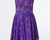 70s Vintage Dress Purple Floral Print Medium
