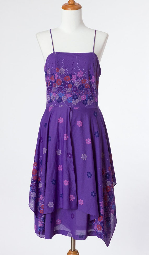 70s Vintage Dress Purple Floral Print Medium