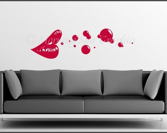 VINYL Wall Decal Lips and Bubbles S-118