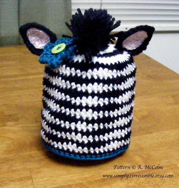 Crochet Zebra Hat : Zebra Hat Pattern - Crochet Pattern 37 - Beanie Hat Pattern - Newborn ...