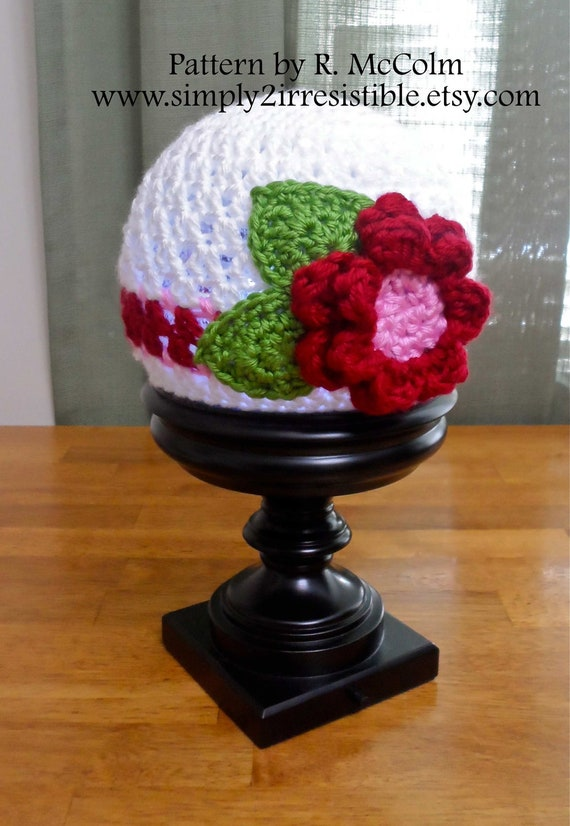 The Bella Stripe Flower Cloche - Crochet Pattern 43 - Newborn to Adult Sizes Included - INSTANT Download - US and UK Terms