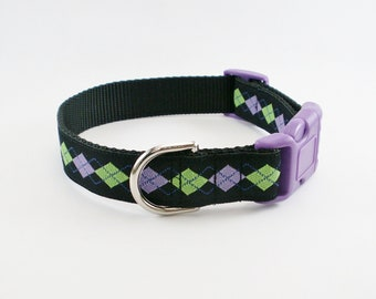 """Hipster Purple Argyle Dog Collar - 1"""" (25mm) Wide - Martingale Dog Collar or Quick Release - Choice of size and style"""