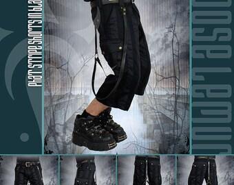 Canvas & Twill Phat Stripe Shorts in Black
