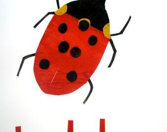 Made to Order Batik Fabric Collage Alphabet Art L is for Ladybug