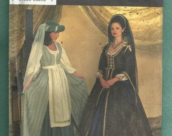 Simplicity 7756 Renaissance Costumes for Adults  Lady in Waiting and Maid Sizes 10..12..14 UNCUT