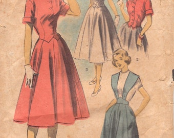 1950s Fitted Blouse and Flared Skirt Pattern Advance 5749 Size 13 - Damaged