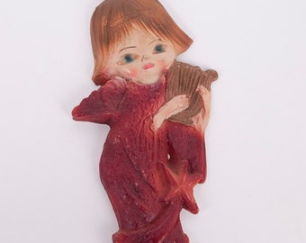 Vintage Angel Ornament Harp Hand Painted Resin Tree Decoration Wall Hanging Christmas Holiday