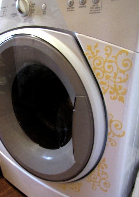 Appliance Vinyl Decal Elegant Damask For Washer Dryer